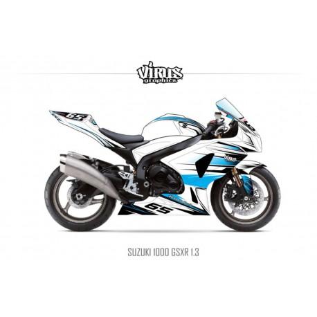 Kit déco Suzuki GSXR1000 2009/16 1.3 Blanc Bleu Noir