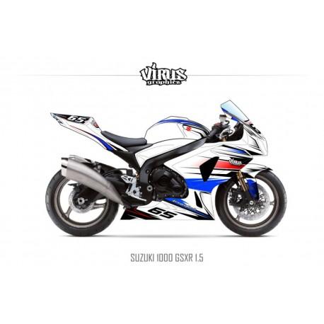 Kit déco Suzuki GSXR1000 2009/16 1.5 Blanc Bleu Rouge Noir