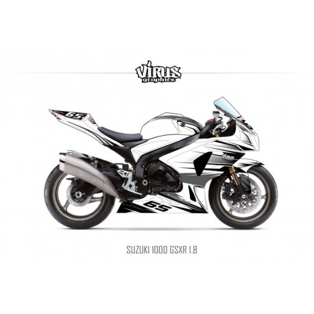 Kit déco Suzuki GSXR1000 2009/16 1.8 Blanc Gris Noir