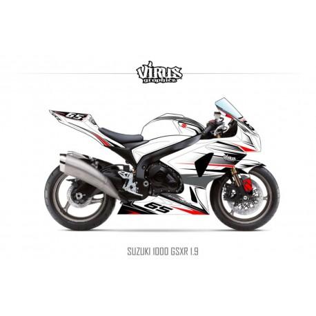 Kit déco Suzuki GSXR1000 2009/16 1.9 Blanc Gris Rouge Noir
