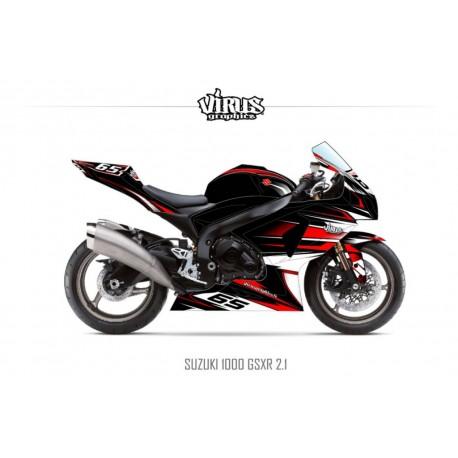 Kit déco Suzuki GSXR1000 2009/16 2.1 Noir Rouge Blanc