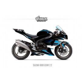 Kit déco Suzuki GSXR1000 2009/16 2.2 Noir Bleu Blanc