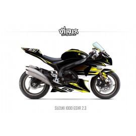 Kit déco Suzuki GSXR1000 2009/16 2.3 Noir Jaune Blanc