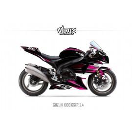 Kit déco Suzuki GSXR1000 2009/16 2.4 Noir Rose Blanc