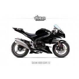 Kit déco Suzuki GSXR1000 2009/16 2.5 Noir Gris Blanc