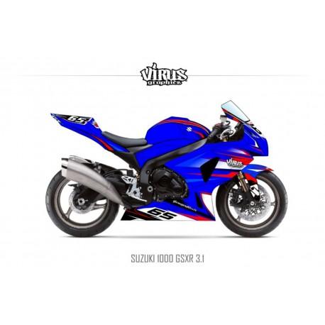 Kit déco Suzuki GSXR1000 2009/16 3.1 Bleu Rouge Blanc