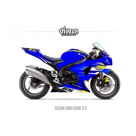 Kit déco Suzuki GSXR1000 2009/16 3.3 Bleu Jaune Blanc