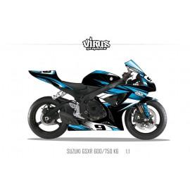 Kit déco Suzuki GSXR600 2006/07 1.1 Noir Bleu Blanc