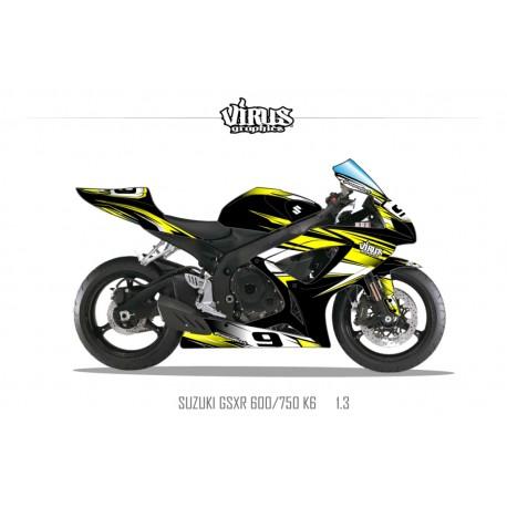 Kit déco Suzuki GSXR600 2006/07 1.3 Noir Jaune Blanc
