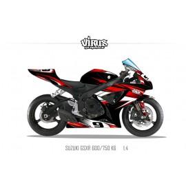 Kit déco Suzuki GSXR600 2006/07 1.4 Noir Rouge Blanc