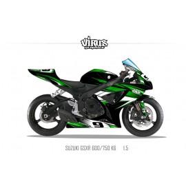 Kit déco Suzuki GSXR600 2006/07 1.5 Noir Vert Blanc