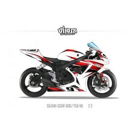 Kit déco Suzuki GSXR600 2006/07 2.2 Blanc Rouge Noir