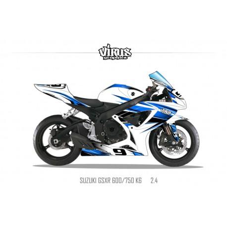 Kit déco Suzuki GSXR600 2006/07 2.4 Blanc Bleu Noir
