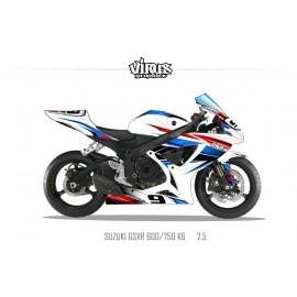 Kit déco Suzuki GSXR600 2006/07 2.5 Blanc Bleu Rouge Noir