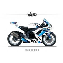Kit déco Suzuki GSXR600 2011 1.1 Blanc Bleu Noir