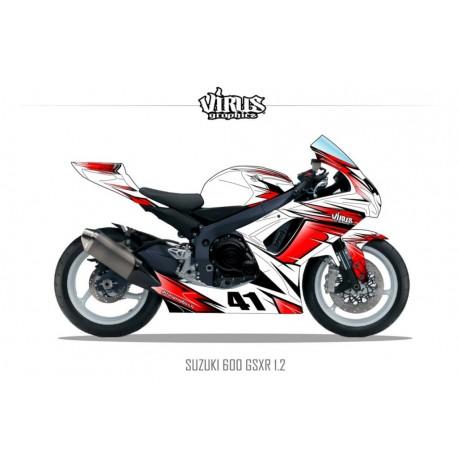 Kit déco Suzuki GSXR600 2011 1.2 Blanc Rouge Noir