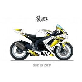 Kit déco Suzuki GSXR600 2011 1.4 Blanc Jaune Noir