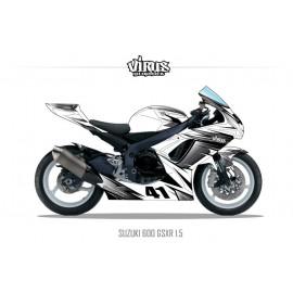 Kit déco Suzuki GSXR600 2011 1.5 Blanc Gris Noir