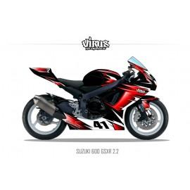 Kit déco Suzuki GSXR600 2011 2.2 Noir Rouge Blanc