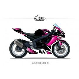Kit déco Suzuki GSXR600 2011 2.3 Noir Rose Blanc