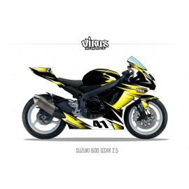 Kit déco Suzuki GSXR600 2011 2.5 Noir Jaune Blanc