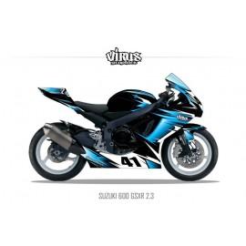 Kit déco Suzuki GSXR600 2011 2.3 Noir Bleu Blanc