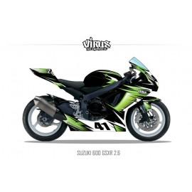 Kit déco Suzuki GSXR600 2011 2.6 Noir Vert Blanc
