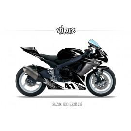 Kit déco Suzuki GSXR600 2011 2.8 Noir Gris Blanc