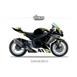 Kit déco Suzuki GSXR600 2011 2.9 Noir Gris Jaune