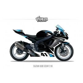 Kit déco Suzuki GSXR600 2011 2.10 Noir Gris  Bleu