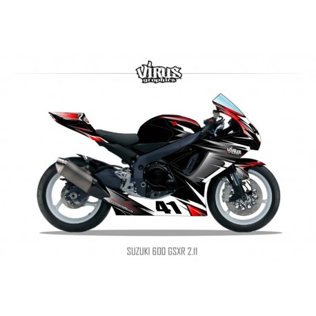 Kit déco Suzuki GSXR600 2011 2.11 Noir Gris Rouge
