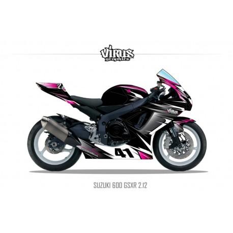 Kit déco Suzuki GSXR600 2011 2.12 Noir Gris Rose