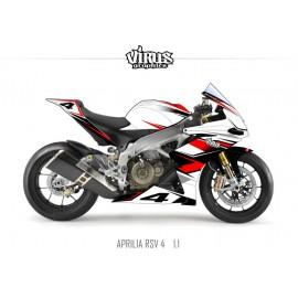 Kit déco Aprilia RSV4 1.1 Blanc Rouge Noir