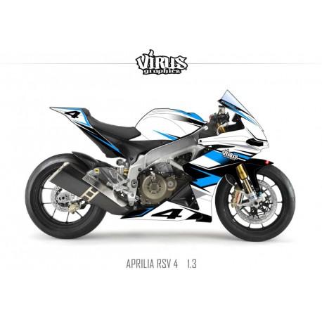Kit déco Aprilia RSV4 1.3 Blanc Bleu Noir