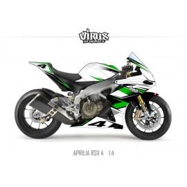 Kit déco Aprilia RSV4 1.4 Blanc Vert Noir