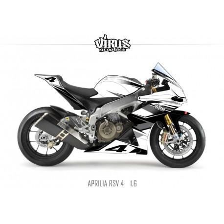 Kit déco Aprilia RSV4 1.6 Blanc Gris Noir
