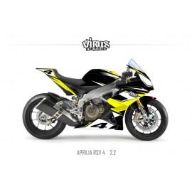 Kit déco Aprilia RSV4 2.2 Noir Jaune Blanc