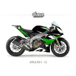Kit déco Aprilia RSV4 2.3 Noir Vert Blanc