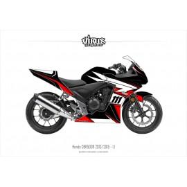 Kit déco Honda CBR500R 2013/15 1.1 Noir Rouge Blanc