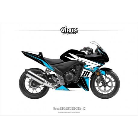 Kit déco Honda CBR500R 2013/15 1.2 Noir Bleu Blanc