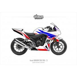 Kit déco Honda CBR500R 2013/15 2.1 Blanc Bleu Rouge