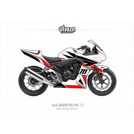 Kit déco Honda CBR500R 2013/15 2.2 Blanc Noir Rouge