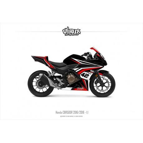 Kit déco Honda CBR500R 2016/18 1.1 Noir Rouge Blanc