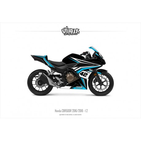 Kit déco Honda CBR500R 2016/18 1.2 Noir Bleu Blanc