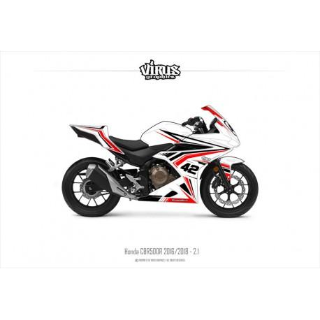 Kit déco Honda CBR500R 2016/18 2.1 Blanc Noir Rouge