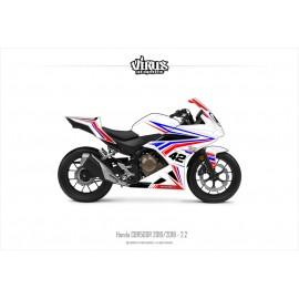 Kit déco Honda CBR500R 2016/18 2.2 Blanc Bleu Rouge