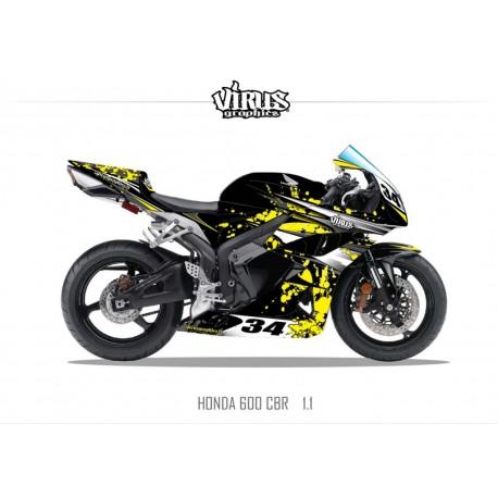 Kit déco Honda CBR600RR 2007/12 1.1 Noir Jaune Blanc