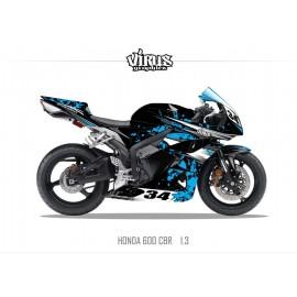 Kit déco Honda CBR600RR 2007/12 1.3 Noir Bleu Gris