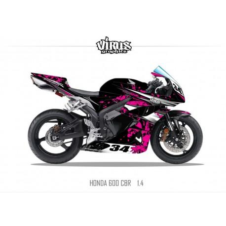 Kit déco Honda CBR600RR 2007/12 1.4 Noir Rose Gris