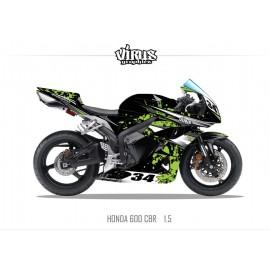 Kit déco Honda CBR600RR 2007/12 1.5 Noir Vert Gris